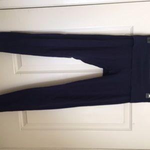 Navy blue fold over yoga pants
